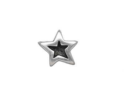 Antique Silver (plated) Double Sided Star 10mm Cord Slide 15mm