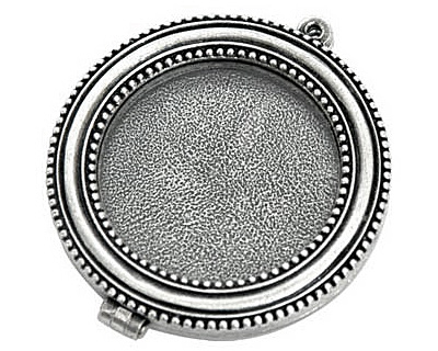 Nunn Design Antique Silver (plated) Large Beaded Locket 44mm