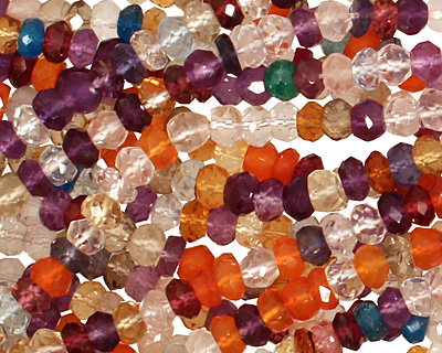 Multi Gemstone (Amethyst, Carnelian, Rock Crystal) Faceted Rondelle 4mm