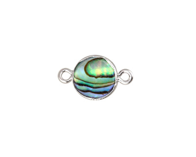 Abalone Coin Focal Link w/ Silver Finish 17x10mm
