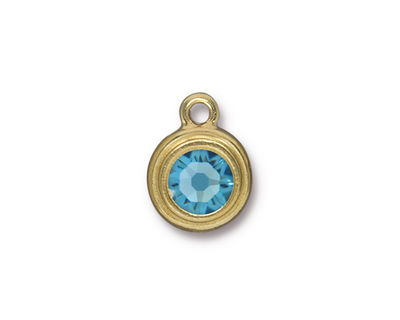 TierraCast Gold (plated) Stepped Bezel Drop w/ Aquamarine Crystal 12x17mm