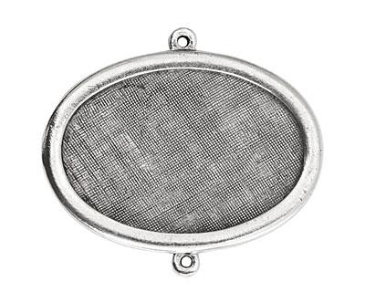 Nunn Design Antique Silver (plated) Large Horizontal Oval Framed Pendant Link 42x30mm