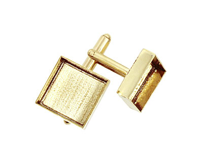Brass Square Bezel Cuff Link 17mm
