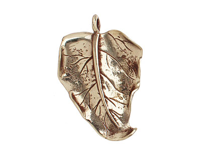 Saki White Bronze Wavy Leaf 31x44mm