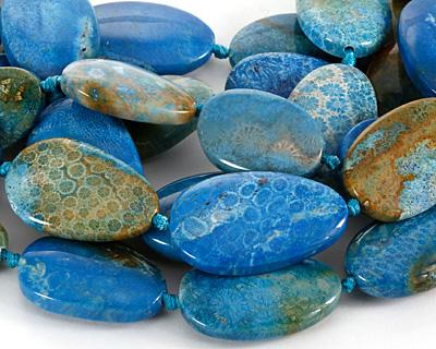 Larimar Blue Fossil Jasper Flat Freeform Oval 39-44x25-27mm