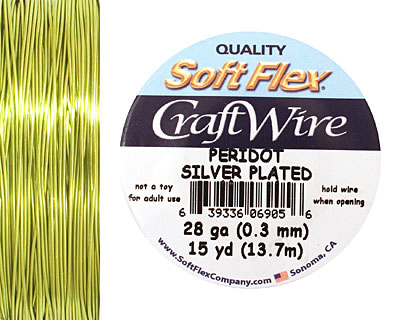 Soft Flex Silver Plated Peridot Craft Wire 28 gauge, 15 yards