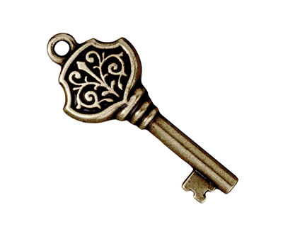 TierraCast Antique Brass (plated) Victorian Key Pendant 15x36mm