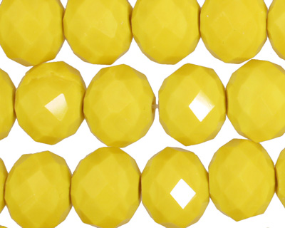 Vintage Yellow Crystal Faceted Rondelle 14mm