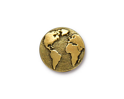 TierraCast Antique Gold (plated) Earth Button 16mm