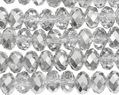 Crystal Silver Faceted Rondelle 6mm