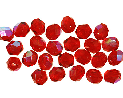 Czech Fire Polished Glass Ruby AB Round 6mm