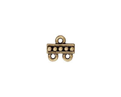 TierraCast Antique Brass (plated) Beaded Link 2-1 10mm