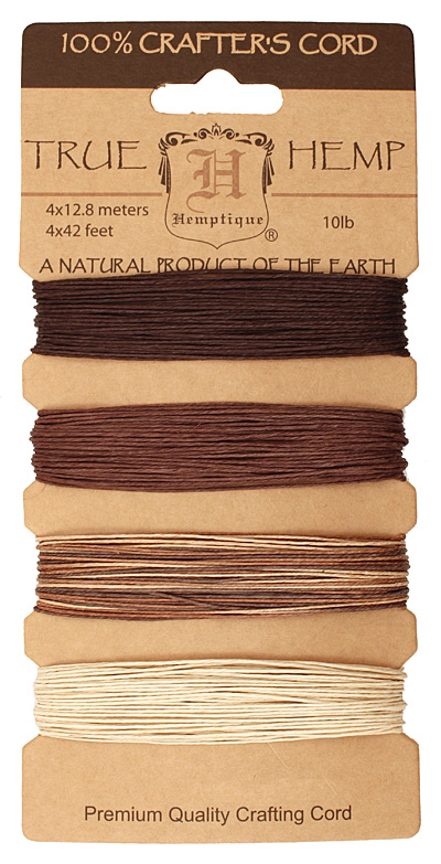 Earthy Hemp Twine 10 lb, 42 ft x 4 colors