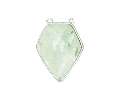 Green Fluorite Faceted Diamond Cut w/ Silver Finish Bezel Focal 21x30mm