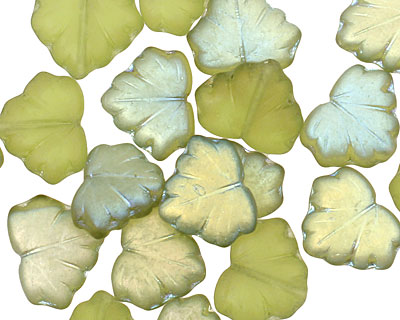 Czech Glass Transparent Verde Luster Maple Leaf 10x13mm