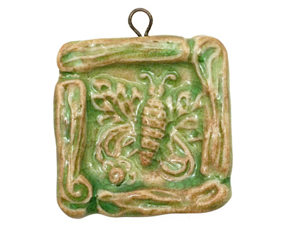 Gaea Ceramic Emerald Butterfly Frame Pendant 38x45mm