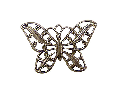 Stampt Antique Pewter (plated) Filigree Butterfly 30x22mm