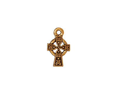 TierraCast Antique Gold (plated) Celtic Cross Charm 9x15mm