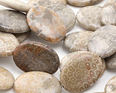 Fossil Jasper Flat Oval 35x25mm