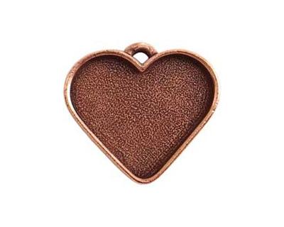 Nunn Design Antique Copper (plated) Large Heart Bezel Pendant 33x30mm