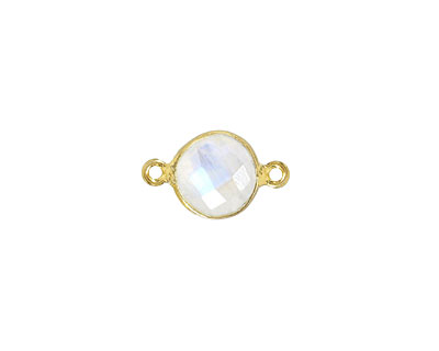 Moonstone (rainbow) Faceted Coin Link in Gold Vermeil 15-16x9-10mm