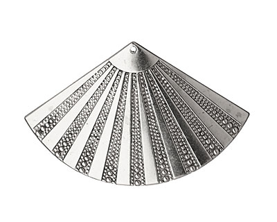 Stampt Antique Pewter (plated) Beaded Fan 55x35mm
