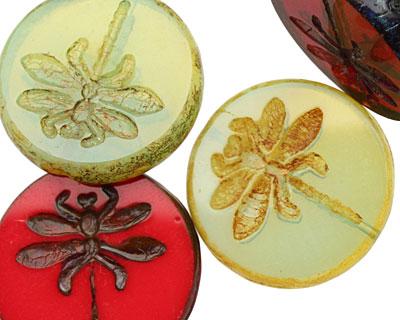 Czech Glass Poppy Field Dragonfly Coin 23mm