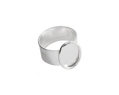 Nunn Design Sterling Silver (plated) Small Oval Frame Adjustable Ring 12x16mm