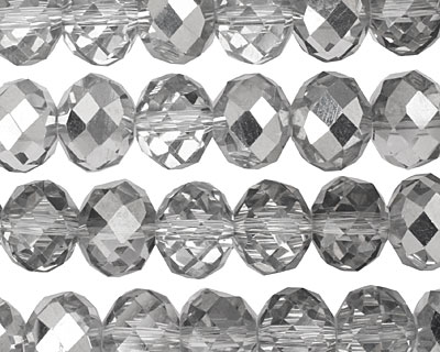 Silver & Clear Crystal Faceted Rondelle 10mm