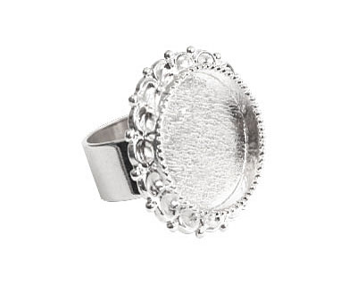 Nunn Design Sterling Silver (plated) Large Ornate Circle Bezel Adjustable Ring 28mm