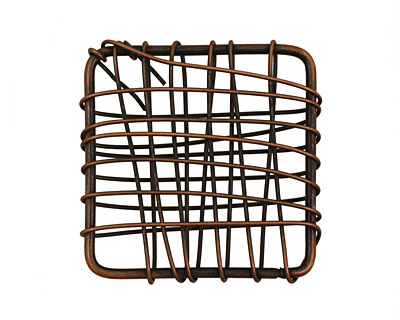 Antique Copper Wire Wrapped Square 28mm