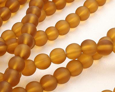 Dark Amber Recycled Glass Round 6mm