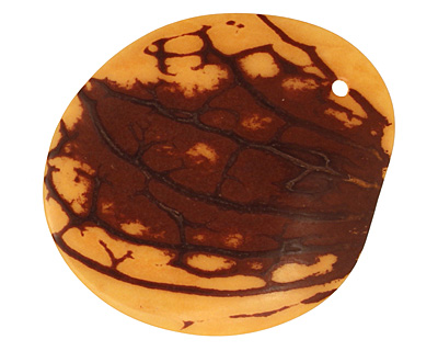 Tagua Nut Gold Groovy Slice 25-35x30-42mm
