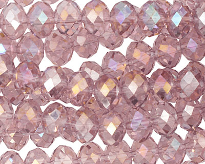 Vintage Rose Crystal Faceted Rondelle 8mm