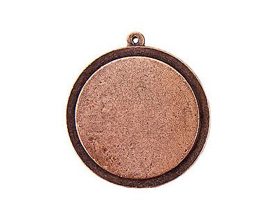 Nunn Design Antique Copper (plated) Raised Tag Grande Circle Pendant 37x40mm