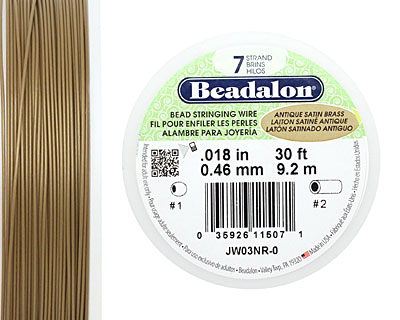 Beadalon Antique Satin Brass .018