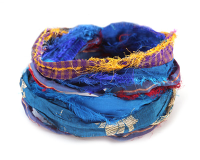 Capri 100% Silk Sari Windswept Ribbon