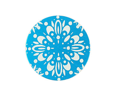 Lillypilly Turquoise Kaleidoscope Anodized Aluminum Disc 25mm, 24 gauge