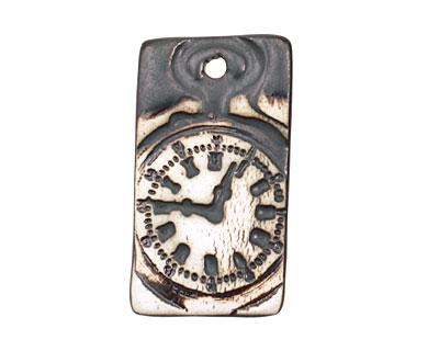 Earthenwood Studio Ceramic Oxidation Roman Numeral Clock Pendant 25x45mm