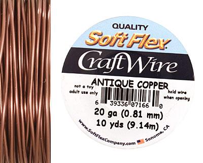Soft Flex Non-Tarnish Antique Copper Craft Wire 20 gauge, 10 yards