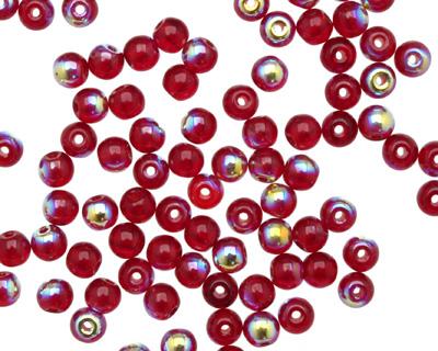 Czech Glass Ruby AB Round 4mm