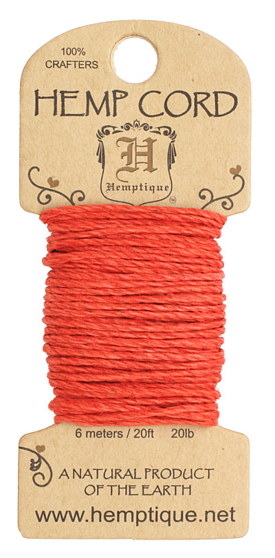 Red Hemp Twine 20 lb, 20 ft
