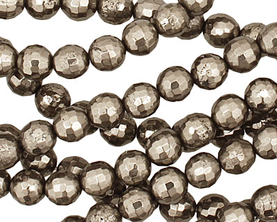 Golden Pyrite Faceted Round 6mm