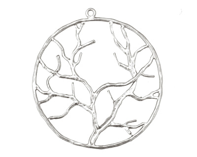 Ezel Findings Rhodium (plated) Circle Tree Branch Pendant 38x42mm
