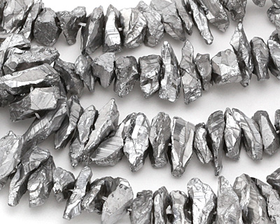 Metallic Silver Quartz Shards 5-12x10-30mm