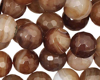 Amber Line Agate Faceted Round 12mm