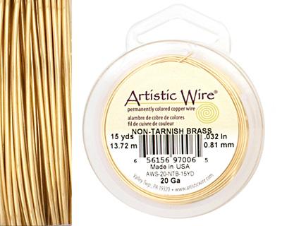 Artistic Wire Tarnish Resistant Brass 20 gauge, 15 yards