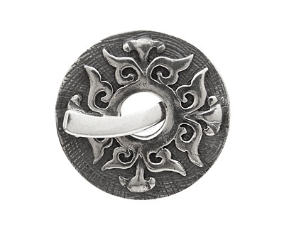 Saki Sterling Silver Baroque Toggle Clasp 32mm, 28mm bar
