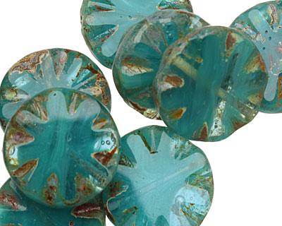 Czech Glass Aquamarine Water Flower Window Cut Coin 18mm