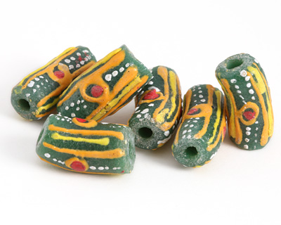 African Handpainted in Red/Orange/Saffron/White Circles & Stripes on Green Powder Glass (Krobo) Bead 18-21x10-11mm